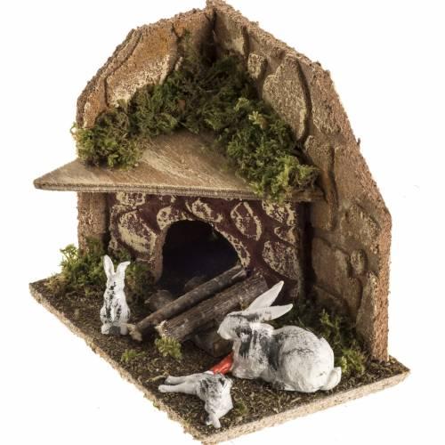 Conigli con conigliera 8-10 cm: ambiente del presepe s4