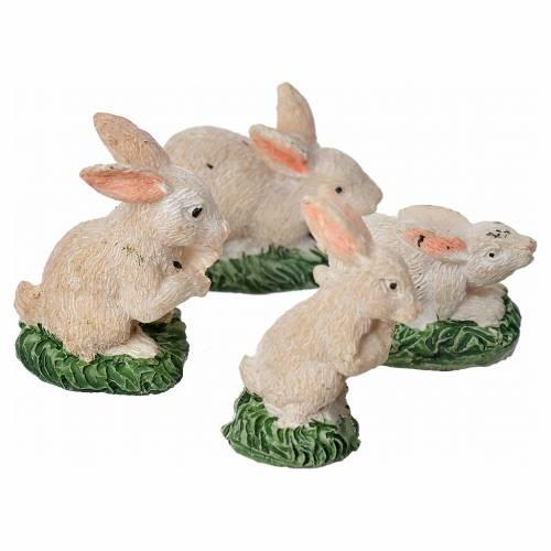 Conigli in resina 4 pz 10 cm s2
