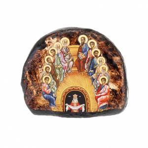 Íconos estampados madera y piedra: Ícono stampado terracota Pentecostés