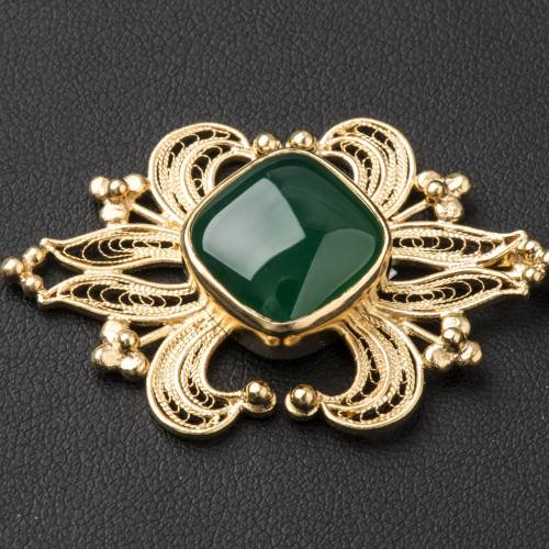 Cope Clasp in golden silver 800 filigree with green Agate s2