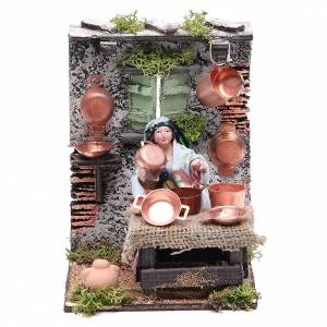 Neapolitan Nativity Scene: Copper seller animated figurine for Neapolitan Nativity, 10cm