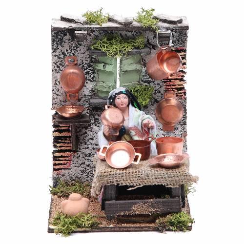 Copper seller animated figurine for Neapolitan Nativity, 10cm s1