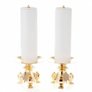 Candelieri metallo: Coppia candelieri metallo dorato base treppiedi h15