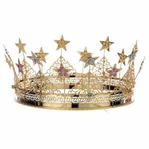 Aros y Coronas: Corona latón dorado - estrás colorado y estrellas