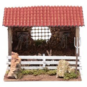 Animales para el pesebre: Corral con techo buey y burro 15x20x15 cm para belén