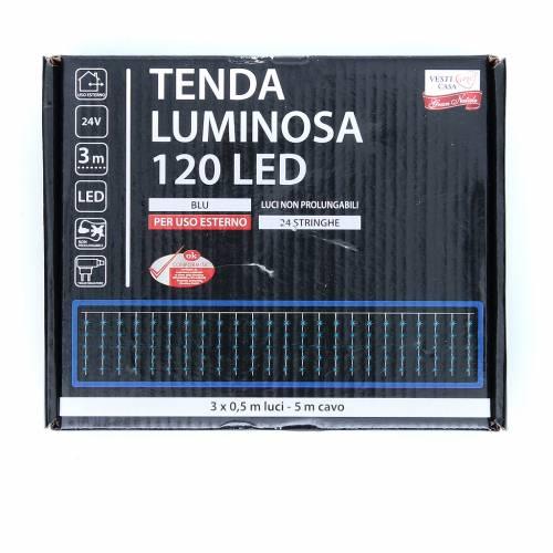 Cortina de luces de Navidad 120 LED azules para exterior s3