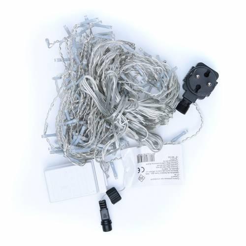 Cortina luminosa 160 LED blanco frío para exterior, funcionamiento con corriente s4