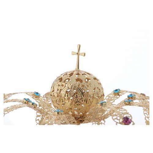 Couronne Notre Dame doré, strass colorés s3
