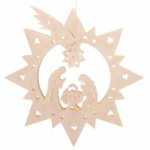 Crèche illuminée en bois, étoile s1