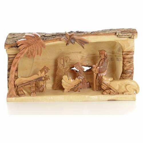 Crèche taillé en morceau bois d'olivier de Terre Sainte s1