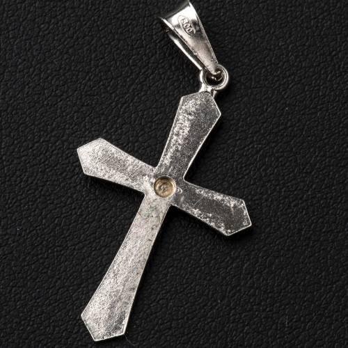 Croce a punta argento e zircone zigrinata s3