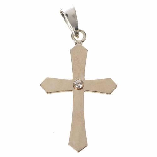 Croce a punta argento e zircone s1