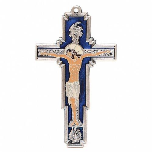 STOCK Croce Albero della Vita metallo cm 14 smalto blu s1