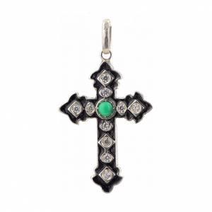 Pendenti, croci, spille, catenelle: Croce argento 925 con strass e pietra verde