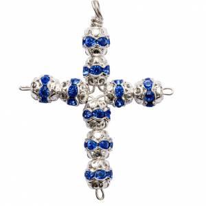 Pendenti, croci, spille, catenelle: Croce argento e strass azzurro 6 mm