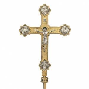 Croce astile con asta ottone dorato 4 evangelisti s1
