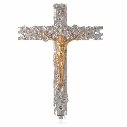 Croce astile ottone argentato 41x31 cm s1