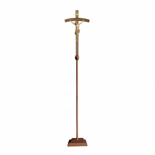 Croce astile processionale Cristo Siena  croce curva  brunita 3 colori s1