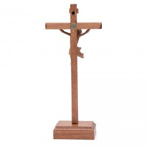 Croce da tavolo scolpito mod. Corpus legno Valgardena patinato s4