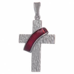 Pendenti, croci, spille, catenelle: Croce diaconale argento 925 smalto rosso