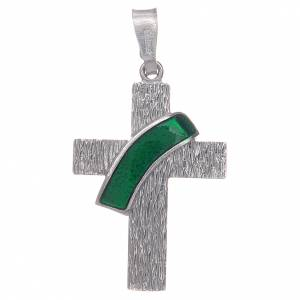 Pendenti, croci, spille, catenelle: Croce diaconale argento 925 smalto verde