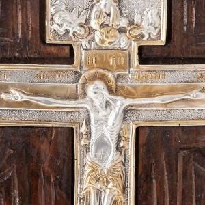 Croce icona ortodossa legno argento s5
