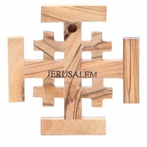 Croce Jerusalem legno d'olivo della Terrasanta 8 cm s2