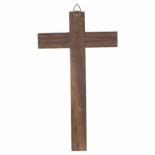 Croce legno Cristo metallo argentato 18 cm s2