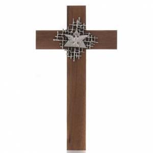 Croce legno noce Padre e Spirito Santo s1