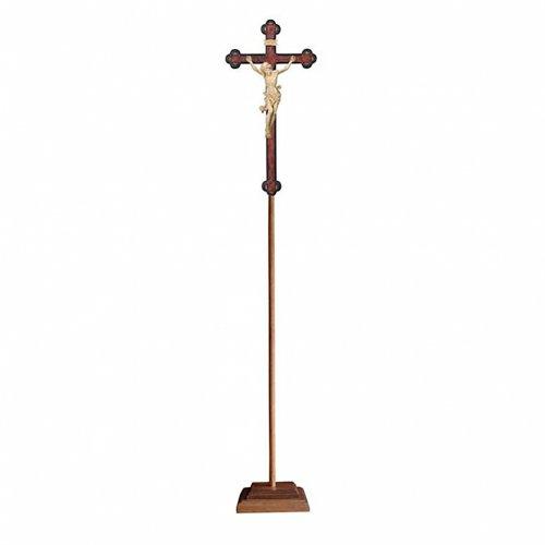 Croce Leonardo processionale legno naturale croce barocca antica s1