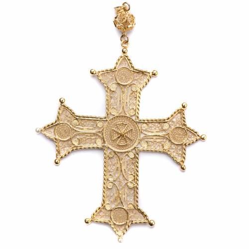 Croce pettorale arg. 800 dorata filigrana con decori s1