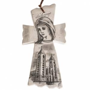 Croci e calamite e oggettistica: Croce  volto Maria e Chiesa di medjugorje
