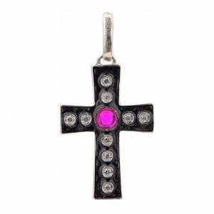 Croce romanica in argento 925 con strass e pietra rossa s1
