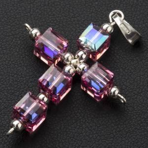 Croce Swarovski cubo rosa s2