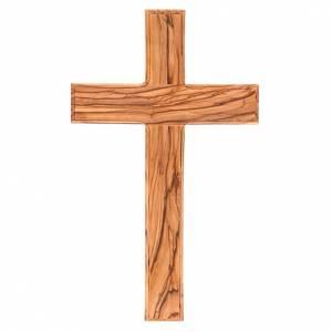 Croce Terrasanta ulivo naturale bordo lavorato s1