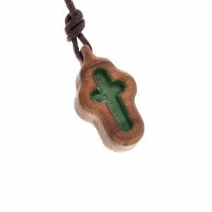 Pendenti croce legno: Croce verde intagliata
