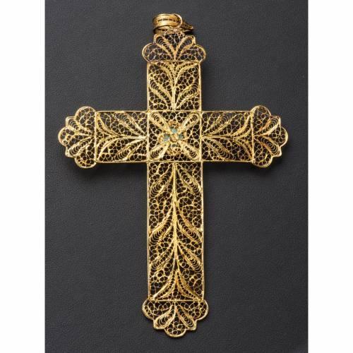 Croce vescovile arg. 800 dorato filigrana e turchese s6