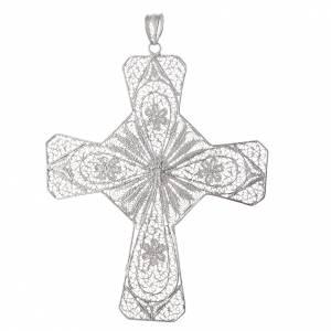 Croce vescovile arg 800 filigrana corniola color corallo s2
