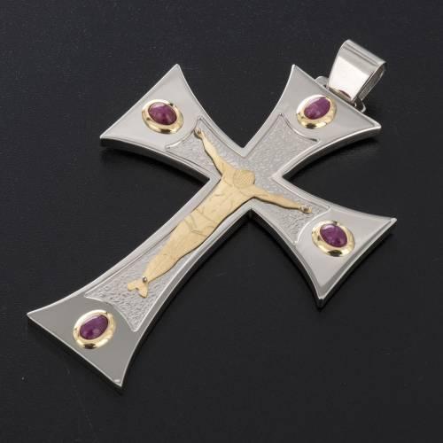 Croce vescovile argento 925, oro 18 kt, rubini s3