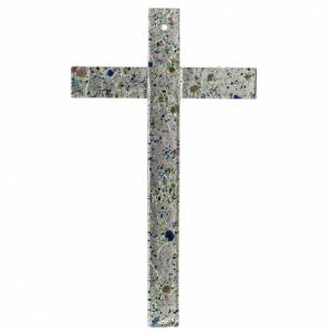 Croce in vetro di Murano con foglia argento arlecchino s1