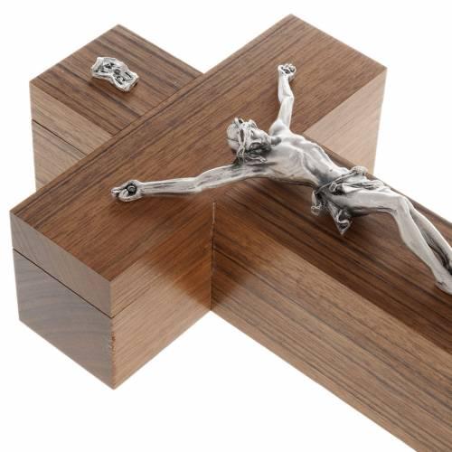 Crocefisso altarino da tavolo legno di noce s3