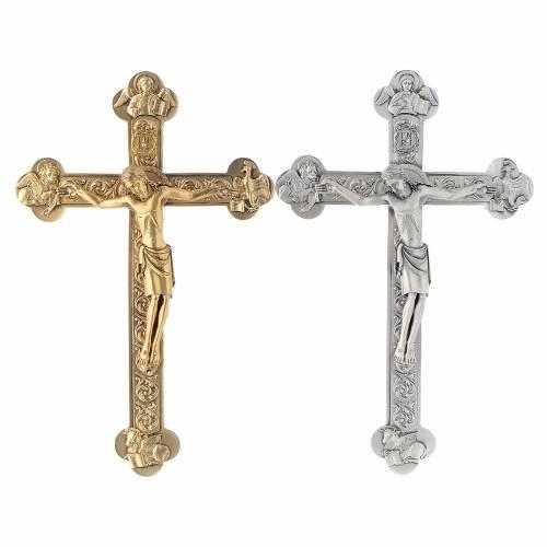 Crocefisso metallo 4 evangelisti dorato o argentato s1