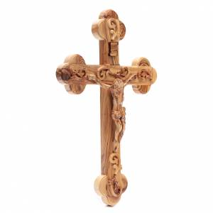 Croce Terrasanta ulivo naturale trilobata decorata s3