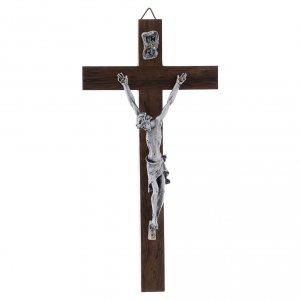Crocifisso corpo argentato su croce in legno di noce moderno 16 cm s1