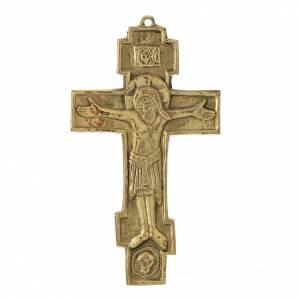 Crocifisso Cristo Re ottone Monaci Bethléem 18x10 s1