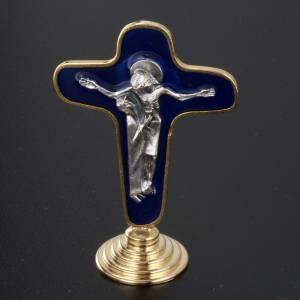 Crocifisso da tavolo metallo dorato blu Maria con calice s3
