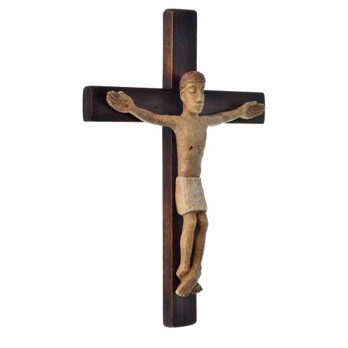 Crocifisso in pietra su legno h 34 cm Bethléem s2