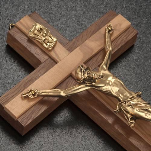 Crocifisso legno noce inserti olivo corpo metallo dorato s2