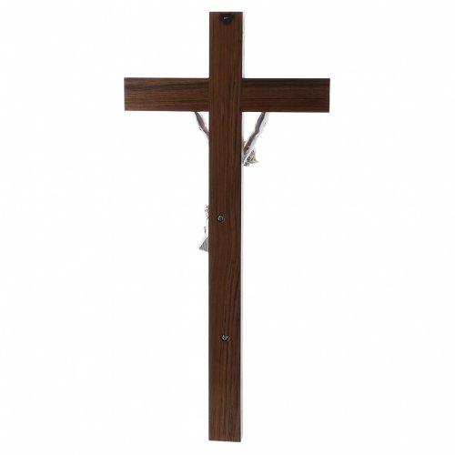 Crocifisso moderno corpo argento su crocifisso in legno di noce 47 cm s3