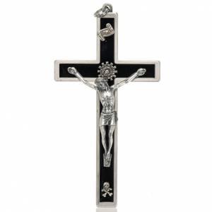 Crocifisso per sacerdoti in ottone smaltato 12x6 cm s1